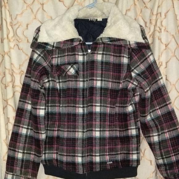 Roxy Jackets & Blazers - ❄ROXY plaid faux sherpa collar jacket